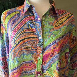 Ralph Lauren plus size 100% cotton button down top